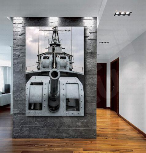 Battleship with Gun Turrets Cannon Canvas Art Poster Print Home Wall Decor