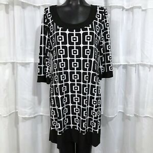 LARGE - TIANA B. Black And White Print Dress