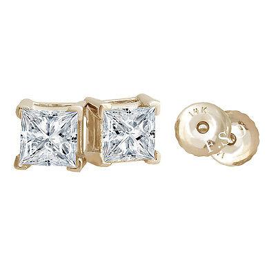 1 Carat Princess Cut Solid 14k Real Yellow Gold Basket Stud Screwback Earrings