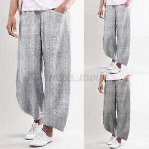 Oversize-Femme-Pantalons-Long-Pur-Coton-Rayure-Taille-elastique-Jambe-Large
