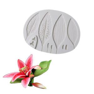 Lily Petal Flower Leaves Silicone Cake Mold Fondant Plant Leaf Baking DIY Mould