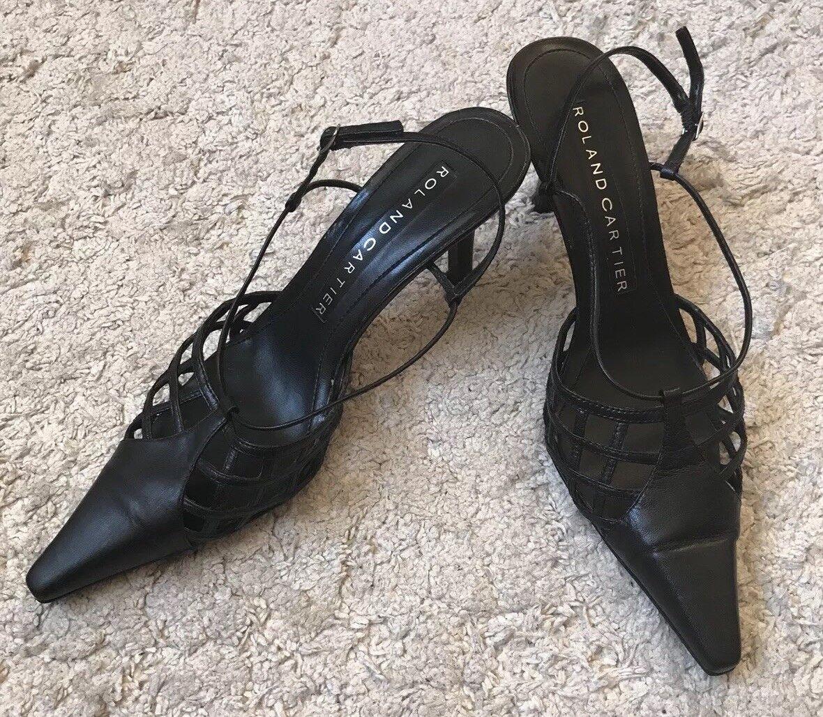 Roland Cartier Black Formal Strappy Pointed Toe Elegant Formal Black Office Shoes a1ec47
