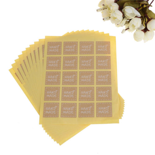 200pcs//lot Round Hand Made Kraft Sealings/'Stickers Paper Labels Gifts Packagings