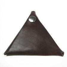Brown Handmade Leather Triangular Coin Purse Loose Change Wallet UK Handmade