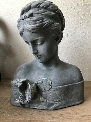 Frauenbüste Jugendstil Büste Mädchenkopf shabby Frauenfigur Dekokopf Gartenfigur