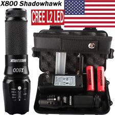 8000LM X800 Shadowhawk CREE L2 LED Military Flashlight 2PCS 5000mAh Battery NEW!