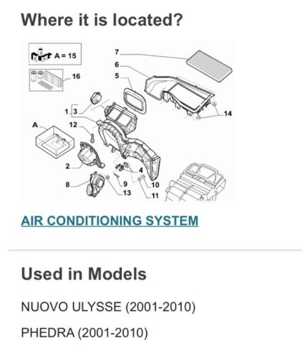 Lancia Phedra 2001-10 Fiat Ulysee 2001-10 Air-conditioning Air Filter 1484383080
