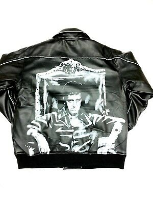 SCARFACE PU LEATHER LOOK QUILTED LINING VINTAGE BIKER BOMBER JACKET RRP £149
