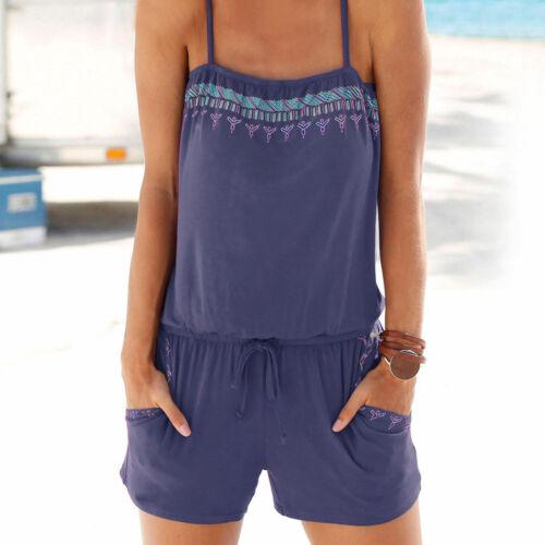2018 Women Holiday Strap Mini Playsuit Ladies Summer Shorts Jumpsuit Beach Dress