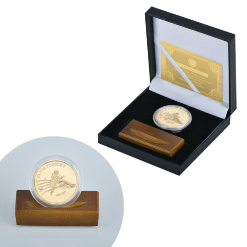 WR Elvis Presley King of Rock N Roll Gold Coin //w Wood Base /& Gift Box For Fans