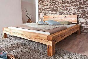 Details Zu Massivholz Doppelbett 160x200 Wildeiche Geölt Bettgestell Holz Balken Eiche Bett