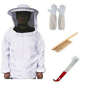 Beekeeping Suit Kit Heavy Duty Jacket Veil Gloves Bee Brush Hook Hive Super L9A4