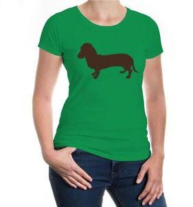 Damen-Kurzarm-Girlie-T-Shirt-Dackel-Tiersilhouette-Schosshund-Hunderasse-Bodo