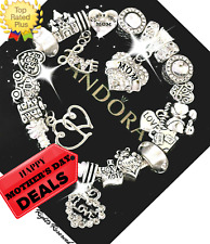 Authentic PANDORA Bracelet Silver White I LOVE YOU, MOM  with European Charms
