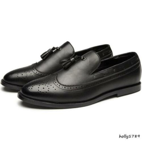 fashion retro Mens Tassels slip on Loafer Brogue Wing tip Carved Dress Shoes