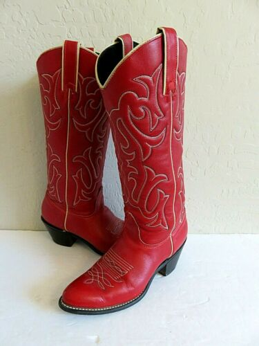 Kenny Rogers Cowboy Western Boots Red Leather Wome