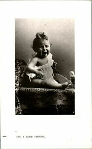 Ive a Good opening RPPC real photograph antique postcard adorable Baby crying