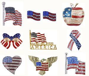 aaa8eaf41 Shiny Crystal Rhines USA Flag Brooch Pin July 4th Patriotic American ...