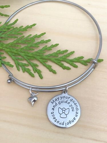 Guardian Angel /& Heart Stainless Steel charms Open Style Expandable Bangle