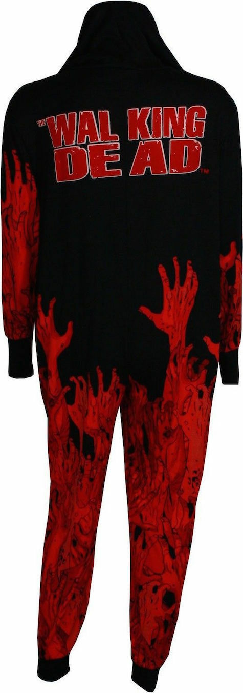 The Walking Dead Union Suit Mens Small Hooded One Piece Pajama Red Grab Lounge