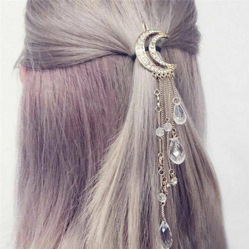 Moon Crystal Rhinestone Bead Dangle Hairpin Hair Clip Women Girl Bridal Jewelry