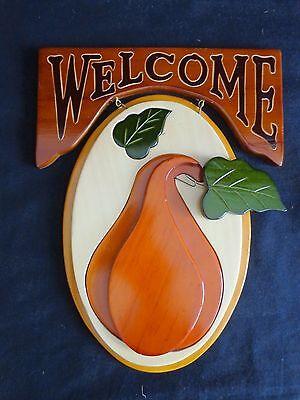 "WELCOME DOOR PLAQUE Squash Gourd 11"" Wood Brown Green Harvest Wall Decor"