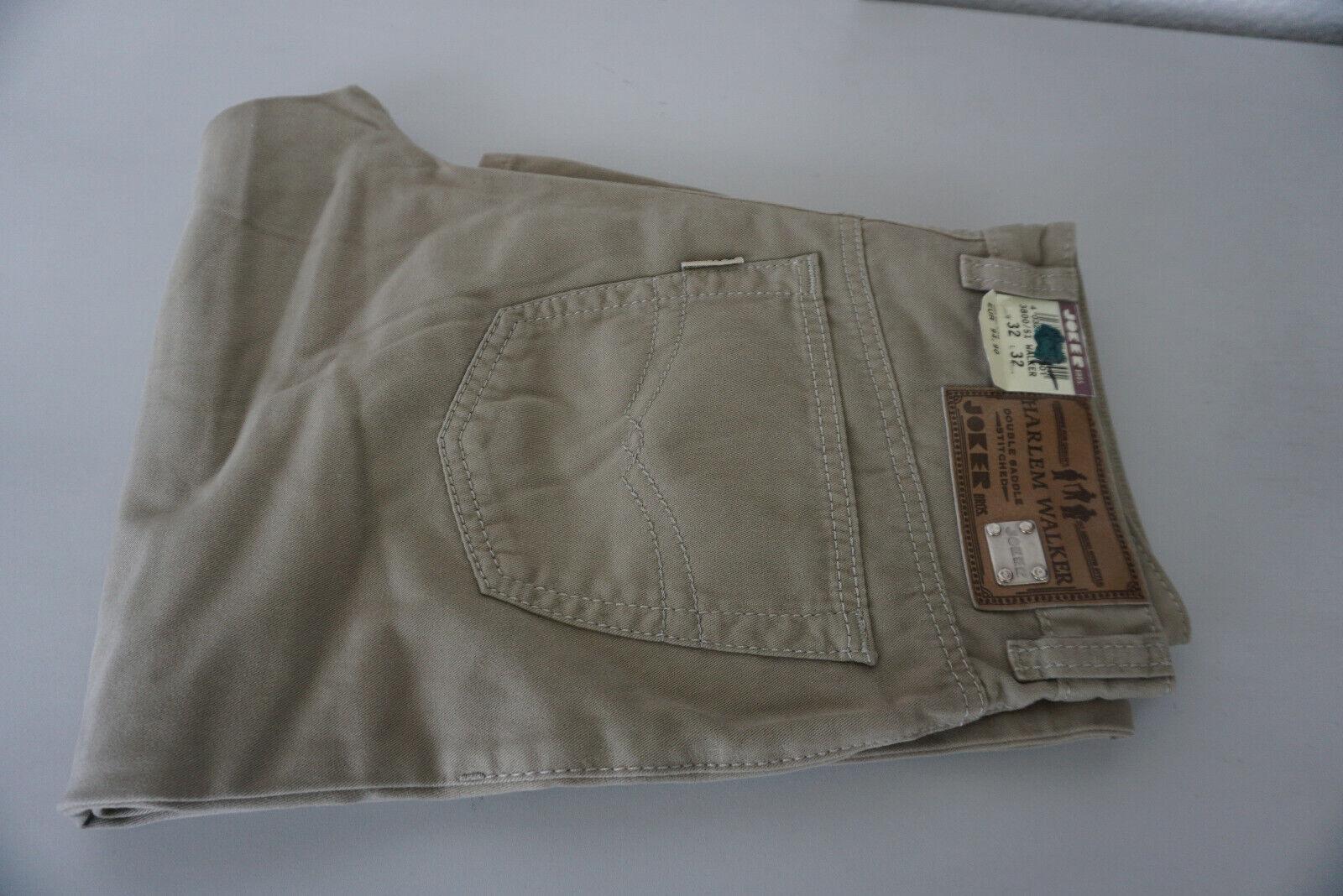 Harlem Walker By Joker Jeans Pantaloni men 32 32 W32 L32 Kaki Beige Nuovo  CX8