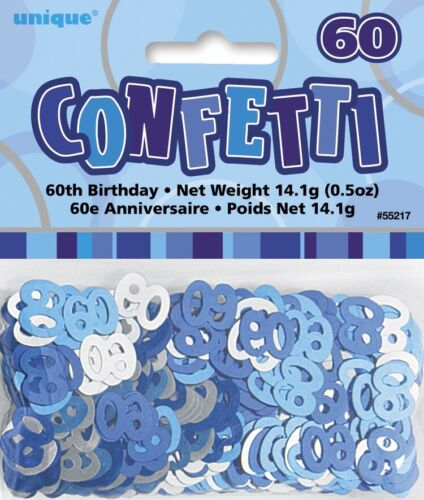 60TH Birthday Scatters Silver and Blue BIRTHDAY PARTY SUPPLIES
