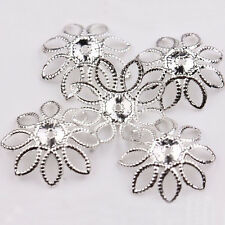 50Pcs Golden/Silver Plated Hollow Filigree Flower Metal Charm End Bead Caps 20mm