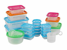 31 Piece Plastic Food Storage Containers W/ Lids Set & Measuring 4 Cups 6 Spoons