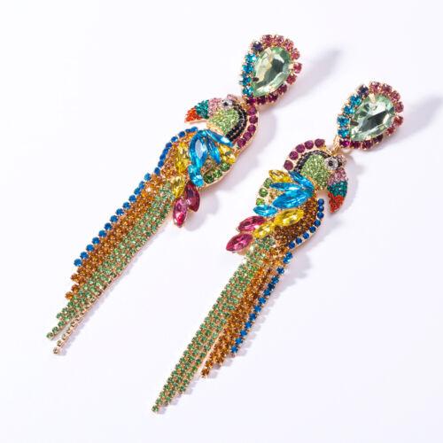 Boucles d/'oreilles Oiseau Perroquet Multi colore Arc en Ciel Vert Bleu Rose XX36