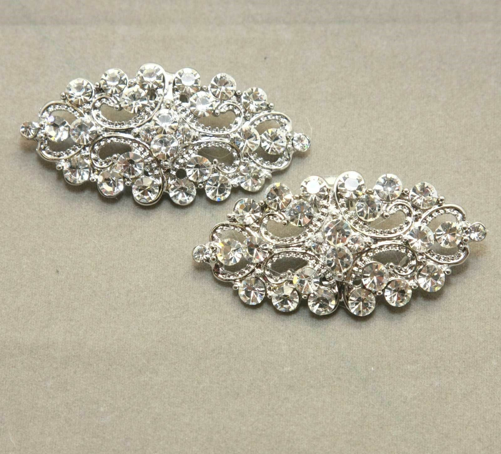 2 Pcs Vintage Style Diamante Crystal Bridal High Heel Shoe Clips Decoration