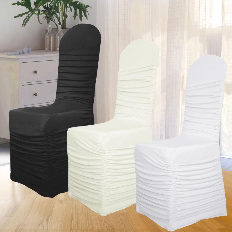 Weiß Schwarz Elfenbein Rüschen Stuhlhussen Lycra Spandex Hochzeitsfest-Dekor | Elegante und robuste Verpackung  | Angemessene Lieferung und pünktliche Lieferung