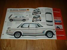 ★★1973 BMW 2002 TURBO ORIGINAL IMP BROCHURE SPECS INFO POSTER 73 74★★