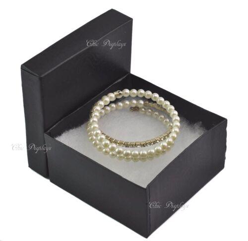 "Black Cotton Filled Box Jewelry Boxes ~6Pc Bangle Boxes Large 3 3//4/"" x 2/""H Boxes"