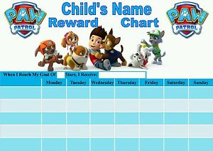 Image Is Loading Personalised Paw Patrol Reward Chart Potty Training Behaviour