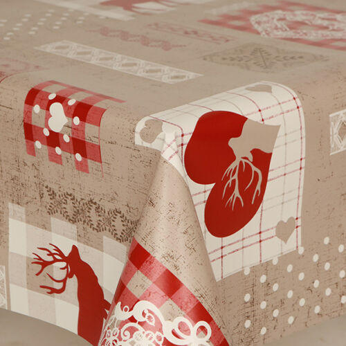 Festive Reindeer Prints Hearts Beige Red Pvc Vinyl Table Cloth Vintage Plain Dot