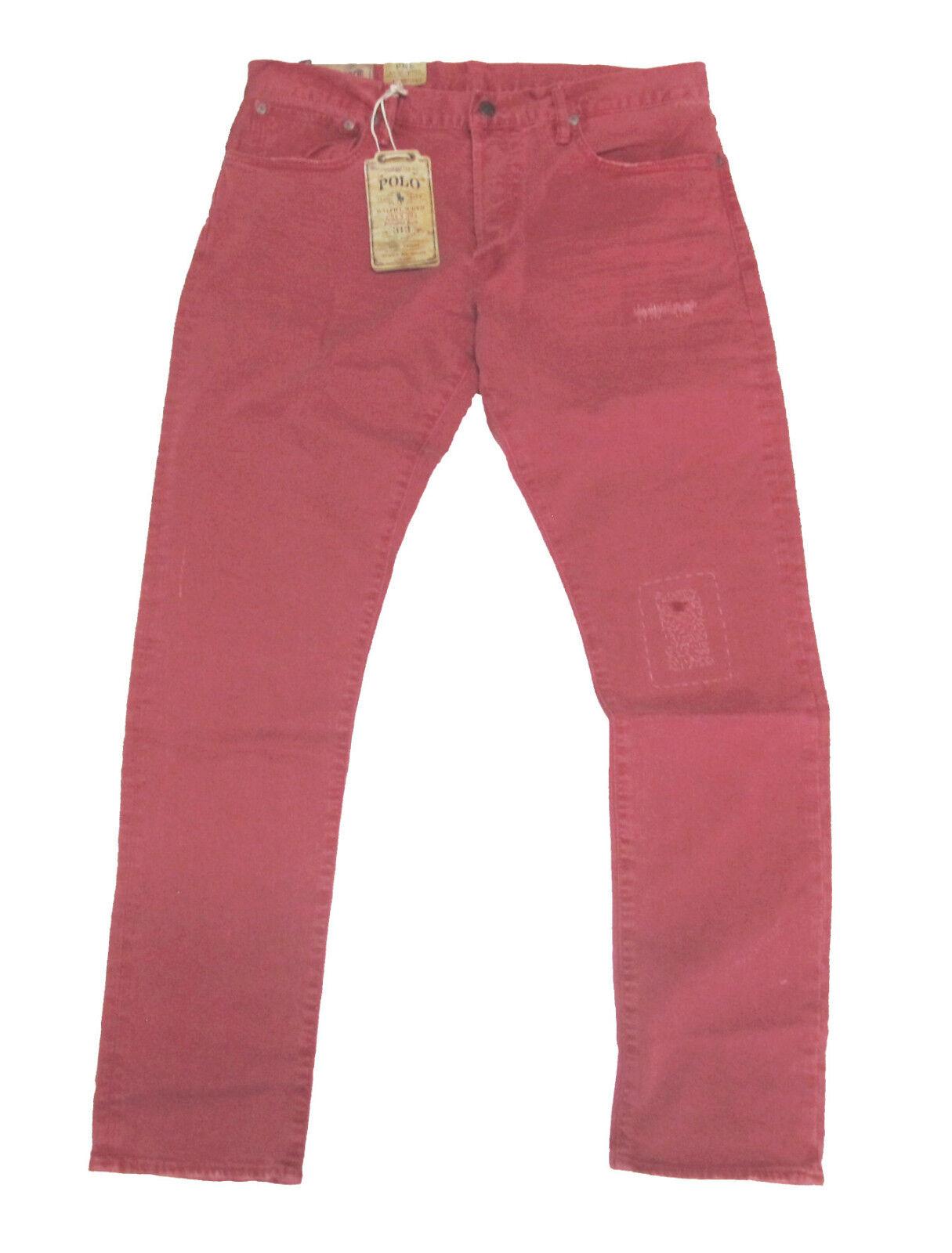 Polo Ralph Lauren Mens Sullivan Slim Low Rise Red Distressed Denim Jeans Pants