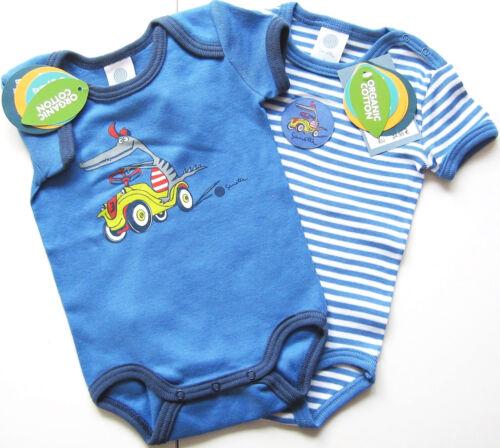 VOITURE BLEU bicolores Baby 2x KA Body Taille 56 NOUVEAU Sanetta M.E 100/% coton bio UV 30