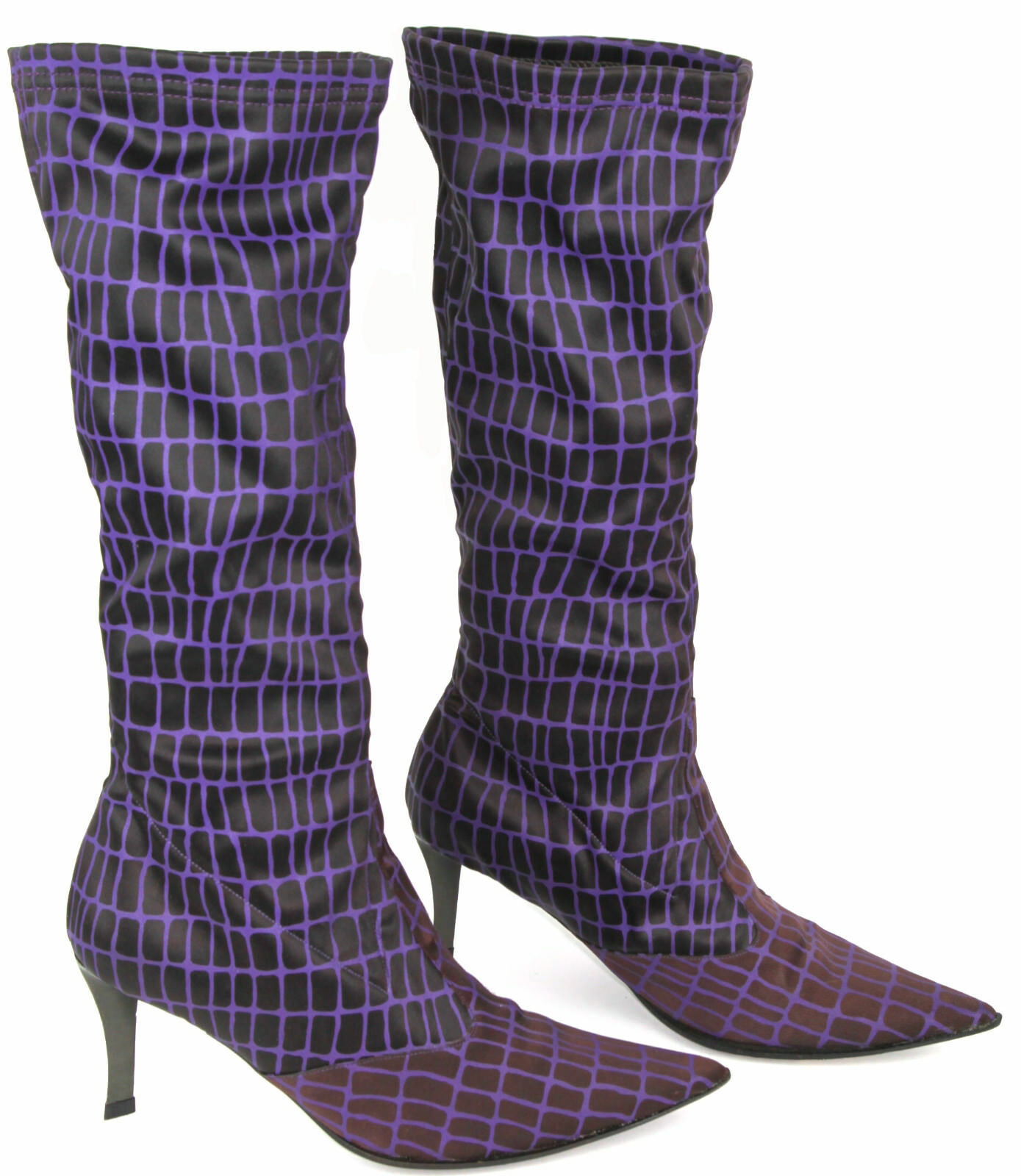 Gianni Barbato Purple Geometric Pattern Stretch Tall Fabric Boots, Size EU 36,