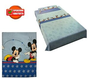 Lenzuola Letto Singolo Disney.Completo Lenzuola Topolino Disney Azzurro Mickey Letto Singolo
