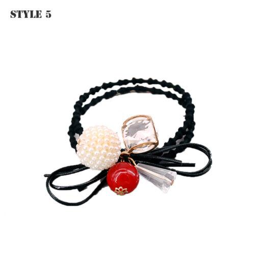 Kleines Mädchen Blume Perlen Stirnband Crystal Strass elastisches Haar Seil