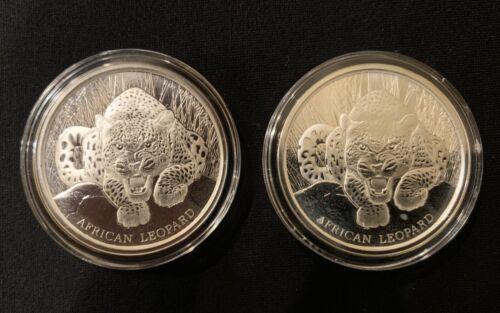 2017 African Leopard Silver Coins 2 Republic of Ghana 1 oz 5 Cedis