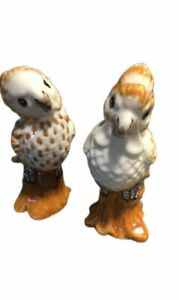 MC-RARE-2-Ceramic-BIrds-Cockatiels-J-W-Co-MADE-IN-ITALY-Numbered-38-60