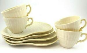 Belleek Limpet Yellow SNACK PLATE and CUP Set of 4 6th & 7th Mark Ireland
