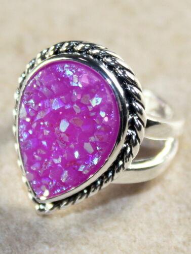 SILVER Vintage Style Pink Red Rainbow Titanium Druzy Teardrop Ring WR12009