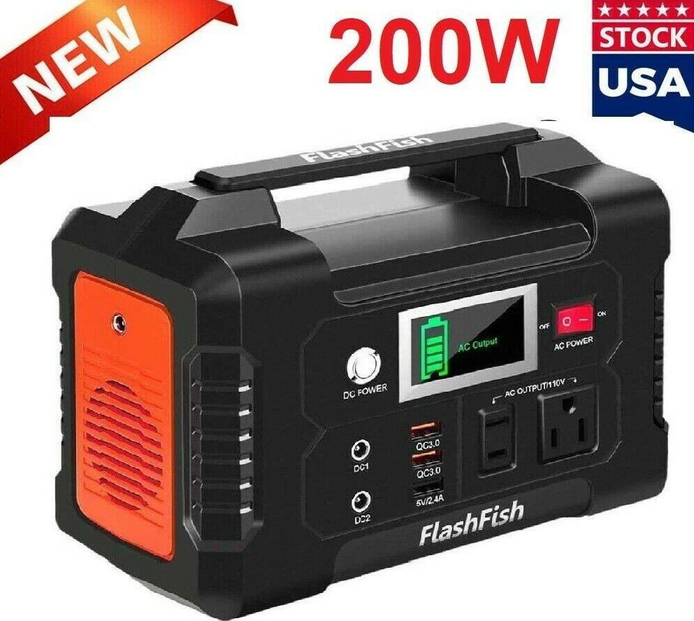 ⚡ FlashFish 200W Portátil Potencia Estación 40800mAh Solar Generador Batería