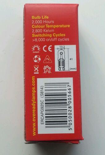 20x G9 25 W Eveready longue vie Dimmable Économie D/'Énergie ampoules Capsule Watt 240 V
