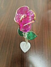Single Stand Long Stem Purple Glass Rose With Gold Paint Stem Crystal FR107P