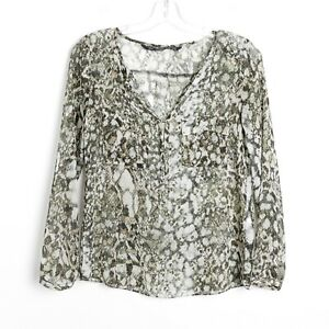 ZARA-snake-skin-animal-print-blouse-light-sheer-top-Size-XS-long-sleeve-green